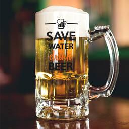 Personalised Glass Beer Mug