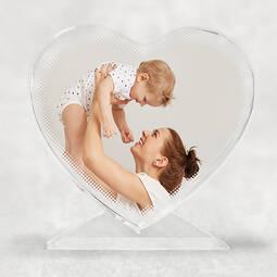 Personalised Crystal Heart Photo Block